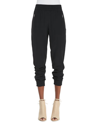 Frances Silk Crepe Track Pants
