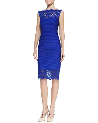 Pintuck Sleeveless Lace Top & Lace-Hem Pencil Skirt