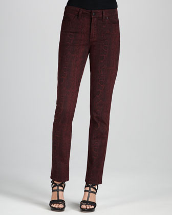 Sheri Python-Print Skinny Pants