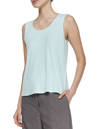 Stretch Silk Jersey Tank, Aurora