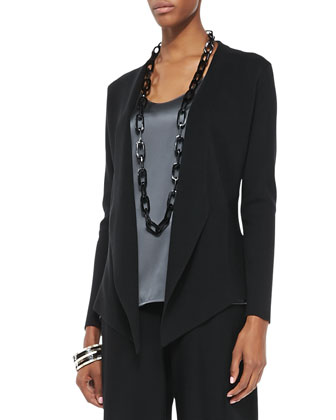 Interlock Open-Front Jacket, Black