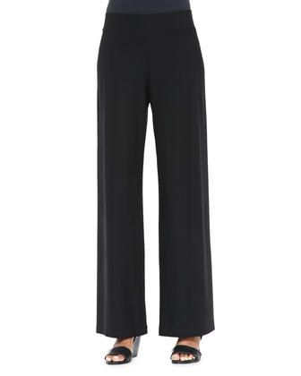 Modern Wide-Leg Crepe Pants