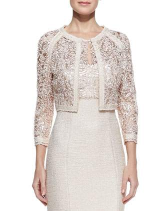 Lace Illusion-Neck Tweed Cocktail Dress & Long-Sleeve Lace Metallic Jacket