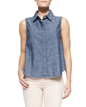 Loose Sleeveless Chambray Blouse & Overdye Skinny Denim Jeans