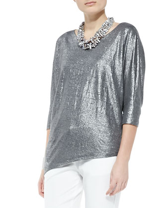 Shimmer Soft Asymmetric Top & Organic Denim Skinny Ankle Jeans