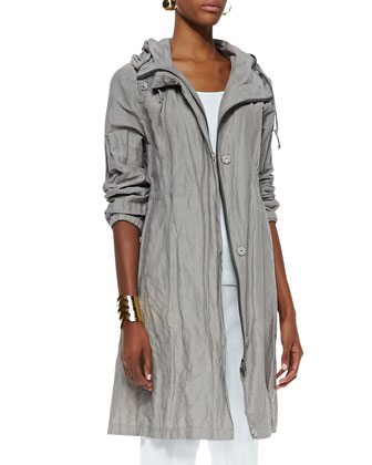 Rumpled Hooded Long Coat, Organic Slim Tank & Stretch Slim Twill Trousers ...