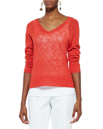Melange V-Neck Knit Top, Petite