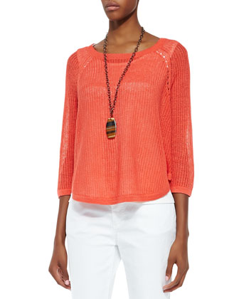 3/4-Sleeve Sweater Box Top, Petite