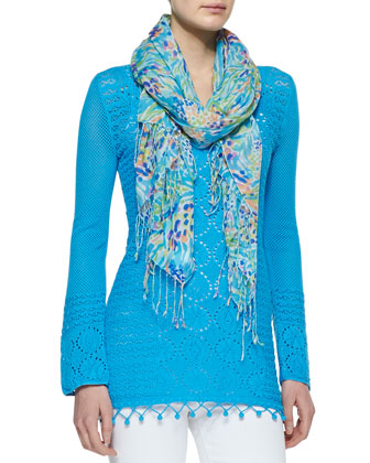 Murfee Sea Soiree Silk-Cashmere Scarf