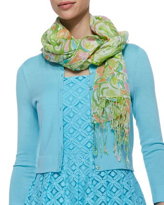Murfee Silk-Cashmere Scarf, Shorely Blue