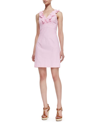 Phoebe Ruffle-Neck Seersucker Sheath Dress