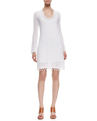 Athena Long-Sleeve Cotton Crochet Sweater Dress