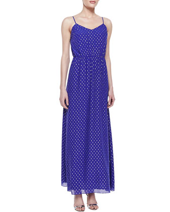 Deanna Metallic Clip-Dot Maxi Dress