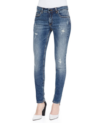 Deconstructed Super Skinny Denim Jeans