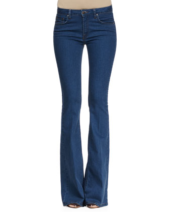 Sleeveless Fitted Round-Neck Top & Flare-Leg Jeans