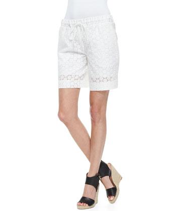Eyelet Drawstring Bermuda Shorts