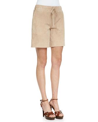 Suede Drawstring Bermuda Shorts