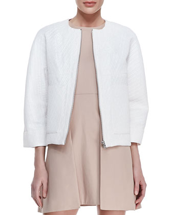 Boxy Textured Utility Jacket and Sleeveless Paneled Overlap Dress