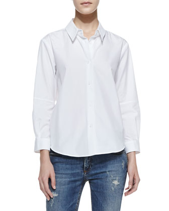 Basic Long-Sleeve Cotton Blouse & Deconstructed Super Skinny Denim Jeans