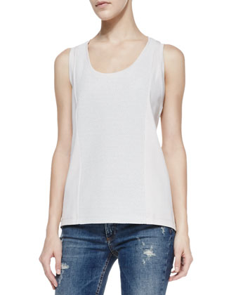 Perforated-Panel Sleeveless Sports Top & Deconstructed Super Skinny Denim Jeans
