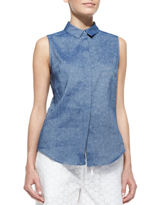Sleeveless Chambray '50s Top