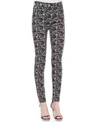 High Waist Lace-Print Skinny Jeans, Velvet Black