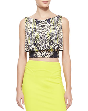 Crocodile-Print Layered Party Crop Top & Body Conscious Contour Skirt