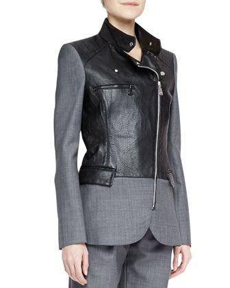 Flannel/Leather Biker Blazer, Party Crop Top & Belted Pleated Trousers