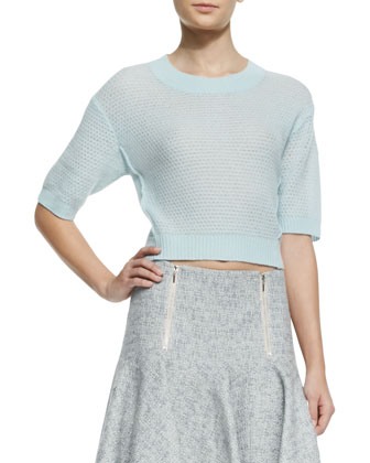 Cashmere Textured Cropped Sweater