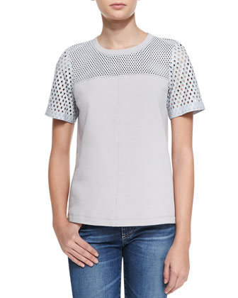 Perforated Cotton/Leather Top