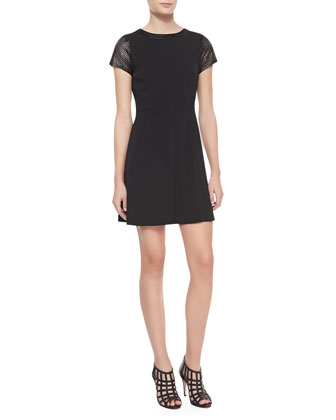 Perforated Leather-Sleeve Crepe Dress