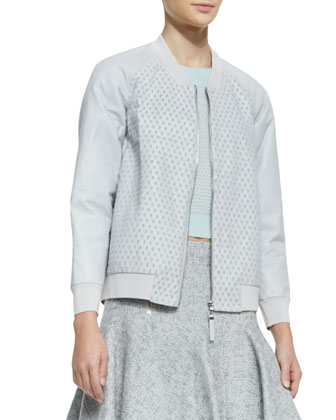 Perforated Leather/Knit Zip Jacket, Cashmere Textured Cropped Sweater & ...