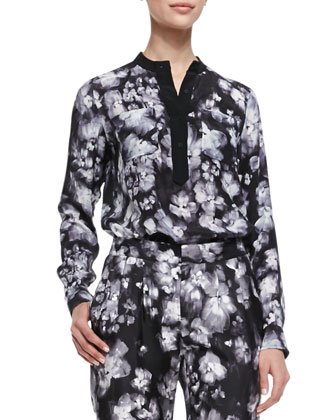 Long-Sleeve Ghost Flower Top, Black/White