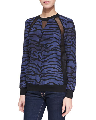 Tiger-Print Sweatshirt with Mesh Inserts, Midnight Blue/Black