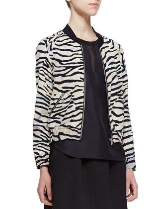 Tiger-Stripe Silk Bomber Jacket, Satin/Mesh Short-Sleeve Top & ...