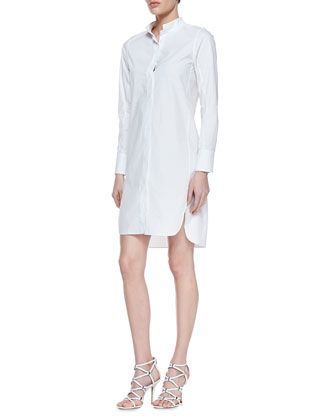Long-Sleeve Cotton Poplin Shirtdress