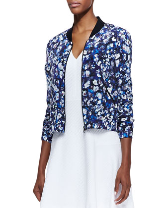 Floral-Print Silk Bomber Jacket & Textured Flare-Skirt Dress