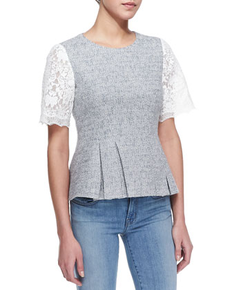Short-Sleeve Tweed & Lace Top, Shark Gray/White