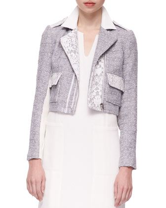 Lace-Trim Tweed Jacket & Mercerized Short-Sleeve Pleated Top