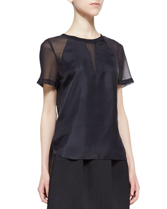 Satin/Mesh Short-Sleeve Top