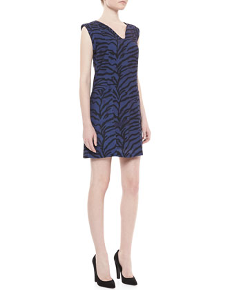 Sleeveless Tiger-Print Shift Dress, Midnight Blue/Black