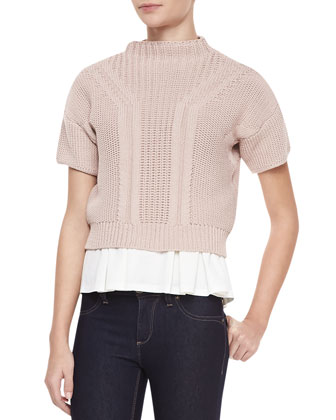 Short-Sleeve Mock-Neck Cropped Sweater, Bubble Pink