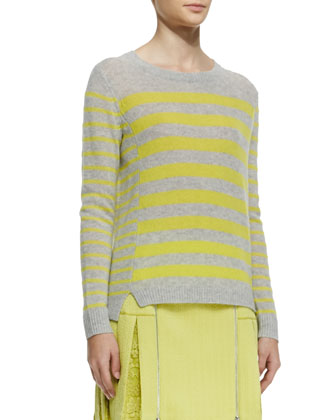 Striped Rib-Trim Cashmere Sweater