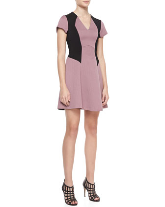Short-Sleeve Colorblock Fit-and-Flare Dress, Tea Rose/Black