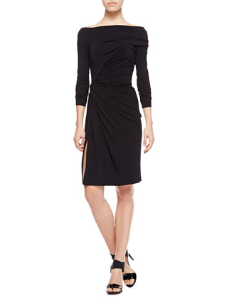 Ruched Matte Jersey Dress, Black