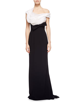 Gown with Organza Top & Crepe Bottom, White/Black