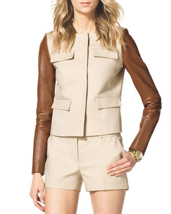 Leather-Sleeve Twill Jacket