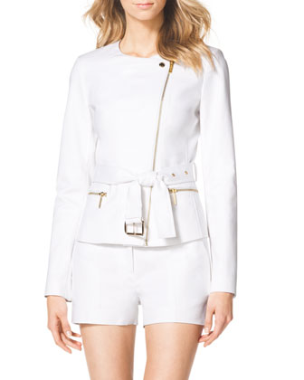 Cotton Belted Moto Jacket