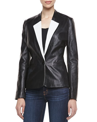Two-Tone One-Button Blazer