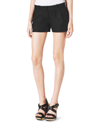 Pleated Zip-Pocket Shorts